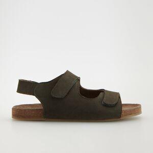 Reserved - Kožené sandále so zapínaním na suchý zips - Khaki