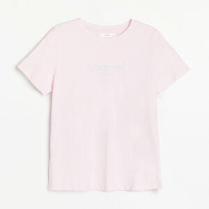 Reserved - Bavlnené tričko s nápisom - Ružová