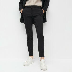 Reserved - Elegantné nohavice s elastickým pásom - Čierna