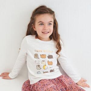 Reserved - Bavlnené tričko s dlhými rukávmi Pusheen - Krémová