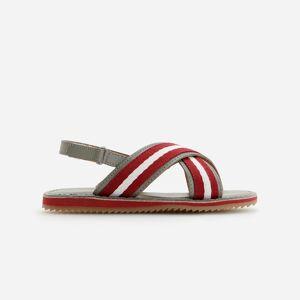 Reserved - Kožené sandále s ozdobným pruhom - Béžová