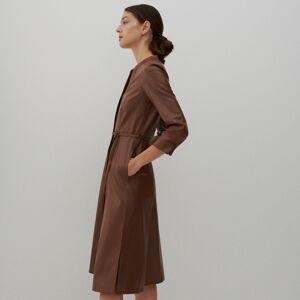 Reserved - Košeľové šaty z imitácie kože - Hnědá