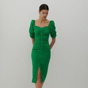 Reserved - Šaty s riasením - Zelená