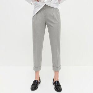 Reserved - Elegantné nohavice s vysokým strihom - Svetlošedá