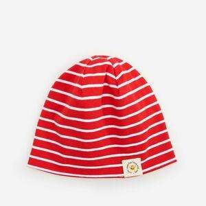 Reserved - Bavlnená pásikavá čiapka beanie - Červená