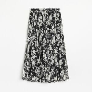 Reserved - Vzorovaná plisovaná sukňa - Čierna