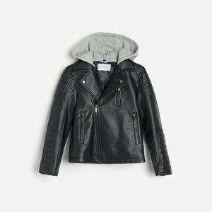 Reserved - Motorkárska bunda s odnímateľnou kapucňou - Čierna