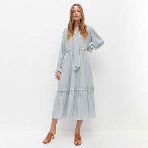 Reserved - Šaty s viazaním na výstrihu - Tyrkysová
