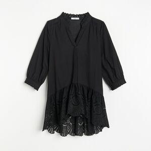 Reserved - Bavlnená blúzka s volánom - Čierna