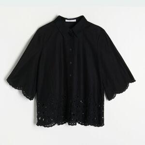 Reserved - Košeľa s anglickou výšivkou - Čierna