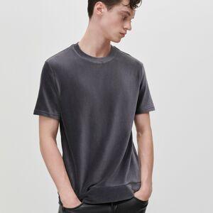 Reserved - Hladké tričko s prúžkovanými lemami - Šedá