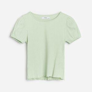 Reserved - Bavlnené tričko z prúžkovaného úpletu s dlhými rukávmi - Tyrkysová