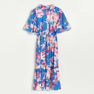 Reserved - Viskózové košeľové šaty - Modrá