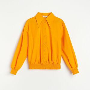 Reserved - Bavlnená košeľa s riasením - Oranžová