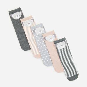 Reserved - Súprava 5 párov ponožiek s huňatou aplikáciou - Svetlošedá