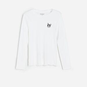 Reserved - Bavlnené tričko s výšivkou - Krémová