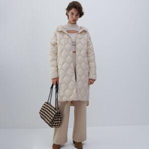Reserved - Ľahký prešívaný kabát s kapucňou - Krémová