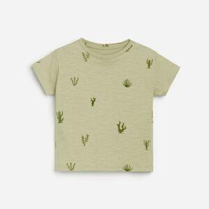 Reserved - Vzorované bavlnené tričko - Zelená