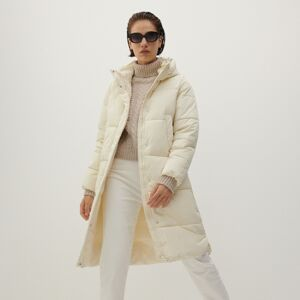 Reserved - Prešívaný plášť s kapucňou - Krémová