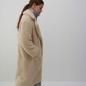 Reserved - Kabát s umelou ovčou kožušinou - Béžová