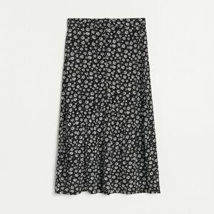 Reserved - Viskózová sukňa s kvetinovou potlačou - Čierna