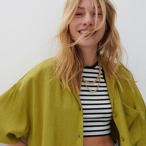 Reserved - Štruktúrovaná bavlnená košeľa - Zelená