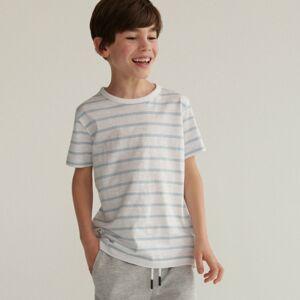 Reserved - Bavlnené prúžkované tričko - Modrá