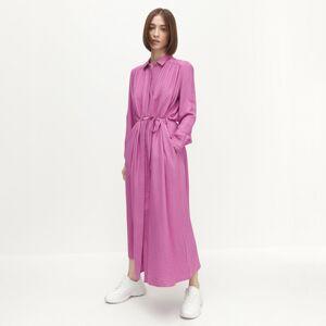 Reserved - Viskózové košeľové maxišaty - Ružová