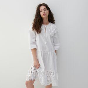 Reserved - Šaty s dierkovaným zdobením - Krémová