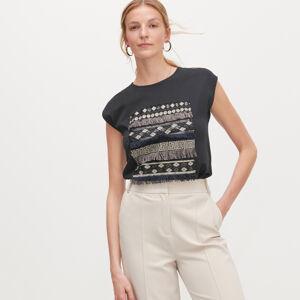 Reserved - Tričko s našitými korálikmi -