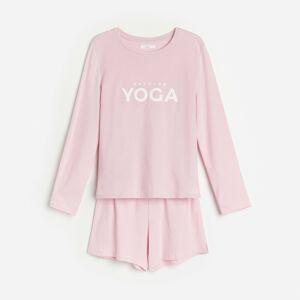 Reserved - Bavlnené pyžamo s nápisom - Hnědá