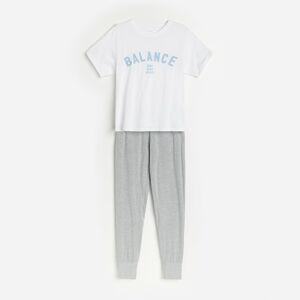 Reserved - Bavlnené pyžamo s nohavicami - Biela