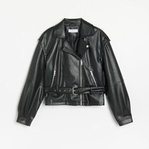Reserved - Motorkárska bunda z eko kože - Čierna