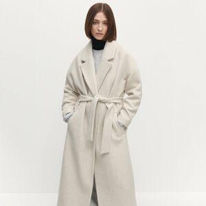 Reserved - Oversize kabát s prímesou vlny - Béžová