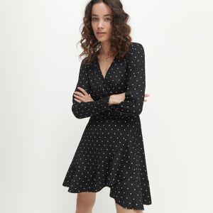 Reserved - Šaty s prekladaným výstrihom - Čierna