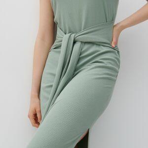 Reserved - Šaty z prúžkovaného úpletu - Zelená