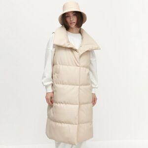 Reserved - Prešívaná vesta z umelej kože - Krémová