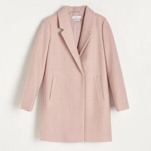 Reserved - Kabát rovného strihu s prímesou vlny - Ružová