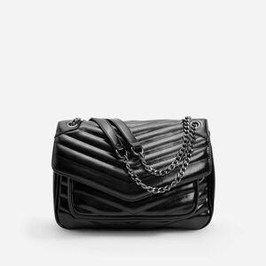 Reserved - Textúrovaná crossbody kabelka s retiazkou - Čierna