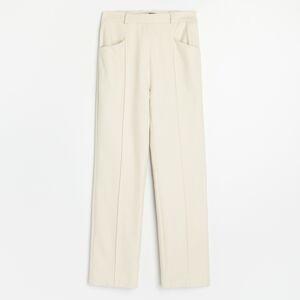 Reserved - Sofistikované nohavice so zažehlenými pukmi - Krémová