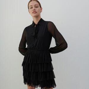 Reserved - Šaty s volánom - Čierna