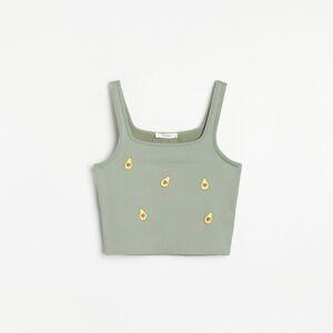 Reserved - Top zpruhovanej tkaniny - Khaki
