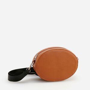 Reserved - Oválna kabelka cez plece so širokým remienkom - Oranžová