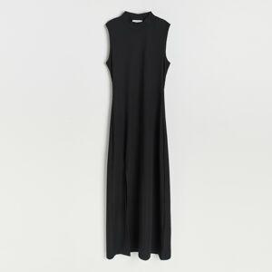 Reserved - Šaty z prúžkovaného úpletu - Čierna