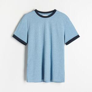Reserved - Tričko skontrastným lemovaním - Modrá