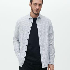 Reserved - Košeľa s mikropotlačou slim fit - Biela