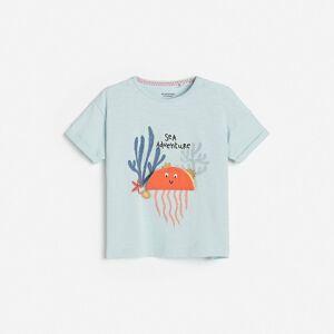 Reserved - Bavlnené tričko s potlačou a aplikáciou - Modrá