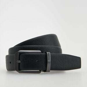 Reserved - Kožený opasok s kovovou prackou - Čierna
