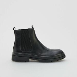 Reserved - Kožené topánky s elastickými bokmi - Čierna