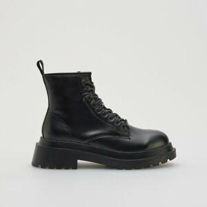 Reserved - Členkové topánky so šnurovaním - Čierna